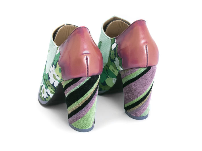 Bahiana Green Floral Floral lace-up heel