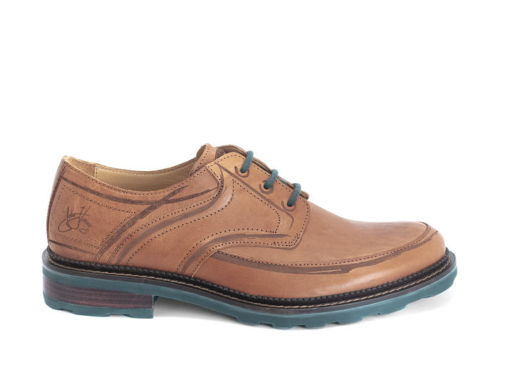 Dublin Brown Derby shoe with brush strokes