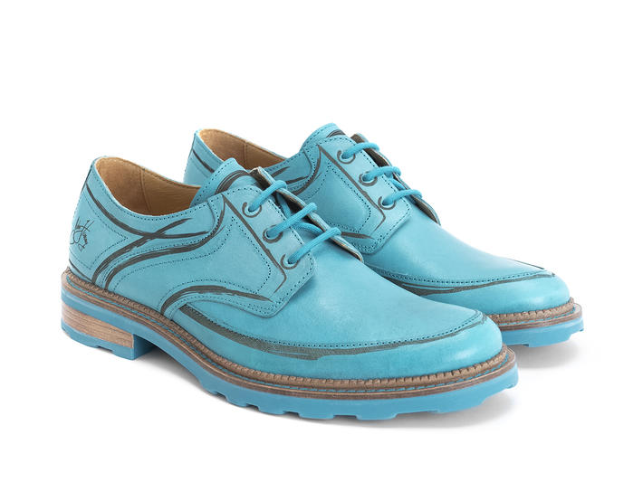 Dublin Blue Derby shoe with brush strokes