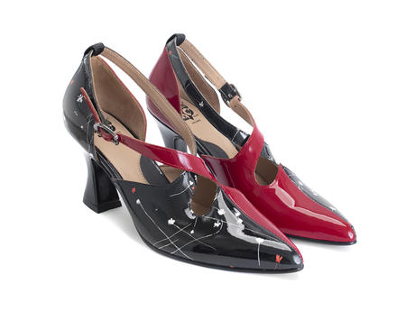 Lisa Marie Red/Black Floral Elegant cross-strap heel
