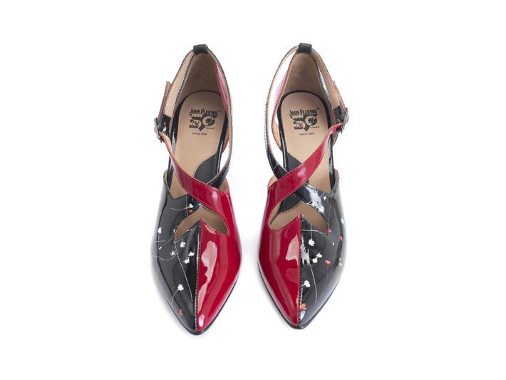 Lisa Marie Red/Black Floral Elegant cross-strap heel