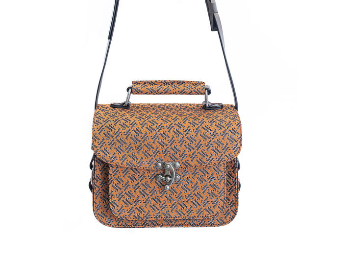 Stephanie Bag Orange JF Monogram Camera Style Bag