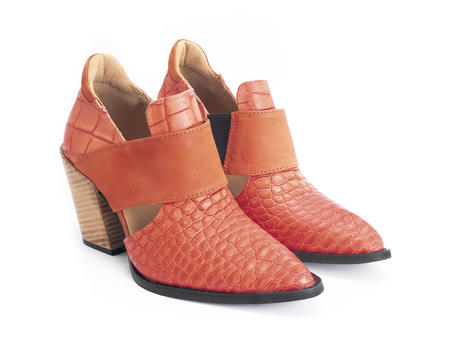 Room 502 Orange croc Open-sided bumped toe heel