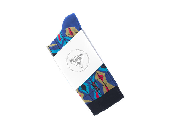 Cerebral Vog Socks Blue/Yellow/Orange/Black Geometric knit sock