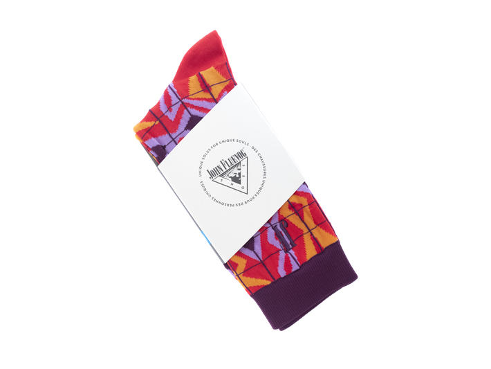 Cerebral Vog Socks Light Red Geometric knit sock