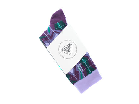 Cerebral Vog Socks Purple/Green Geometric knit sock