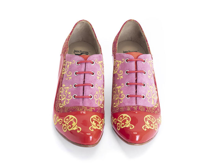 Champey Red Paisley Lace-up heel with embroidery