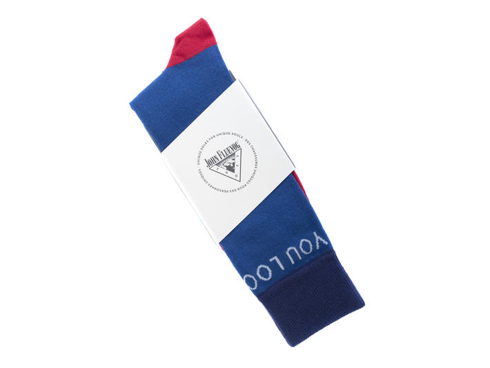 You Look Great Vog Socks Blue Contrast crew sock