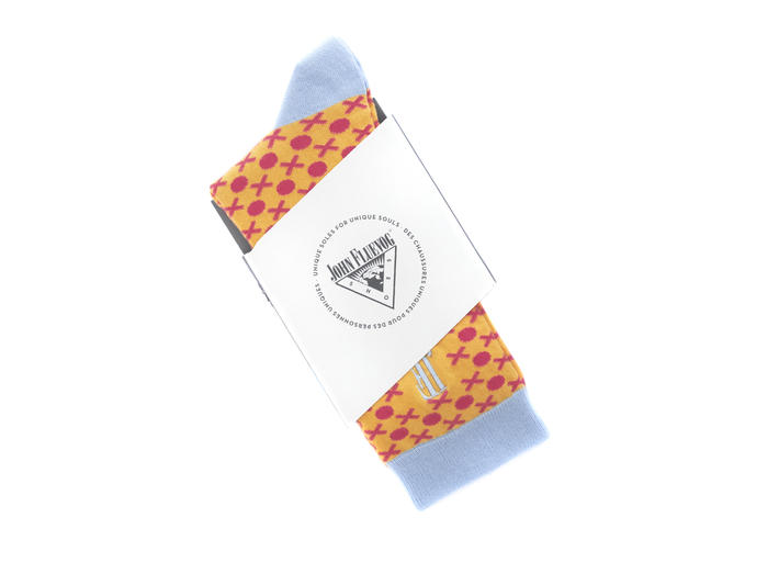 XO Vog Socks Yellow/Red Printed ankle sock