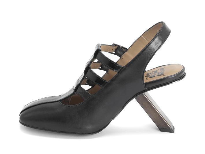 Estefan Black Strappy slingback heel