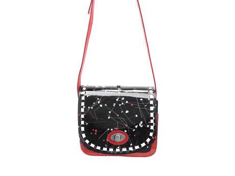 Valerie bag Black Floral Small leather satchel