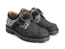 Johane Black/White JF Monogram Angel shoe with custom buckle