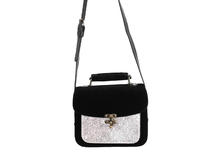 Stephanie Bag Black Velvet/Silver Camera Style Bag
