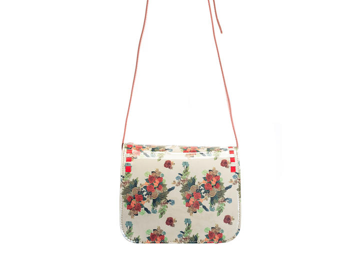 Valerie bag White Floral Small leather satchel