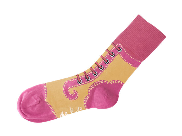 Derby Swirl Vog Socks Pink/Yellow Knitted Angel sock