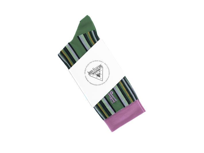 Stripe Vog Socks Green/Purple Striped crew sock
