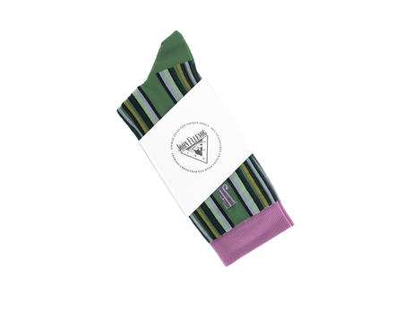 Stripe Vog Socks Green/Purple Striped crew sock