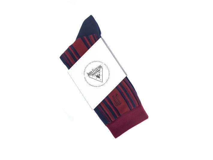 Stripe Vog Socks Red/Navy Striped crew sock