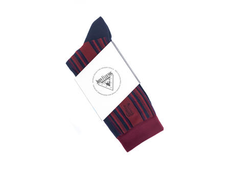 Stripe Vog Socks Red/Navy Striped crew sock