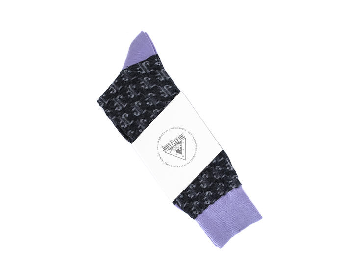 Monogram Vog Socks Black/Purple Knit monogram sock