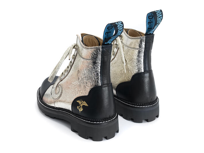 Derby Swirl (6 Eye) Platinium Gold Classic Derby Boot