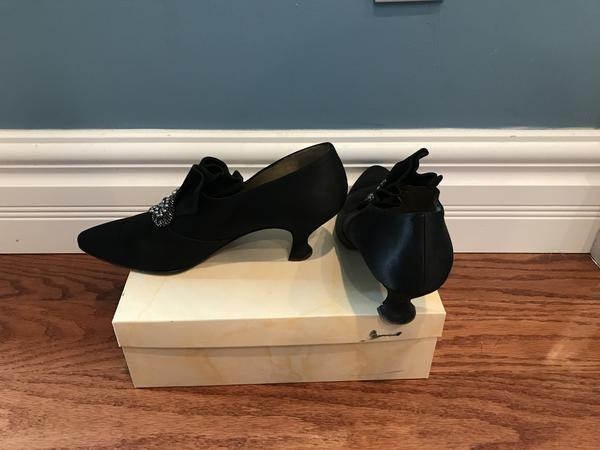Peter Fox Annabel Italian silk shoes with brooch