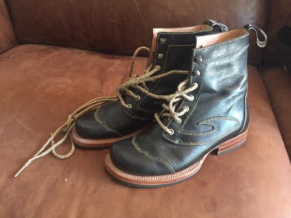 Black Angels boots w wooden heels