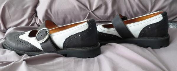 John Fluevog Women's Seventh Heaven Wing Tip Angels black and white mary janes
