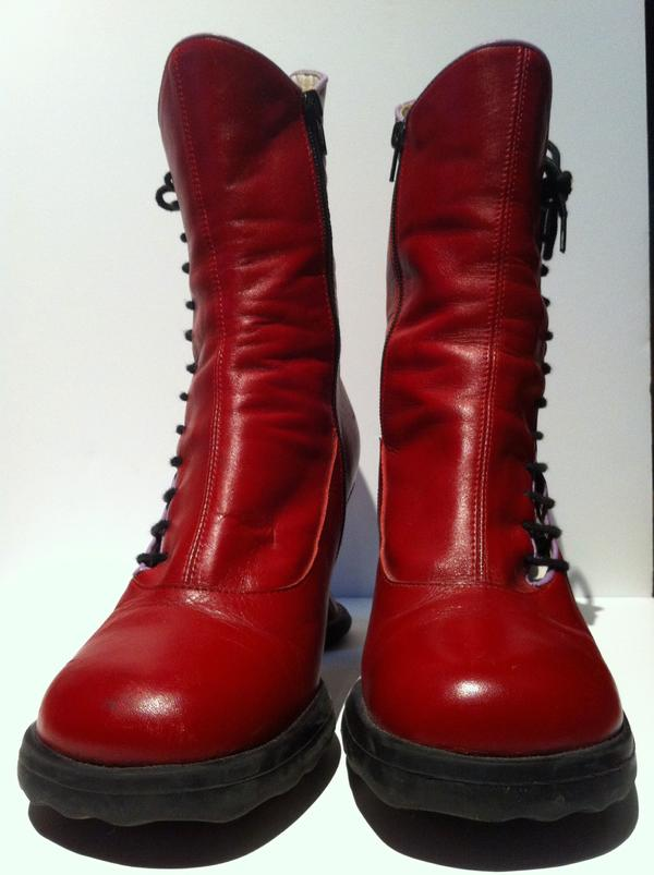 Red Fluevog Mini Lover Ankle Boot size 9