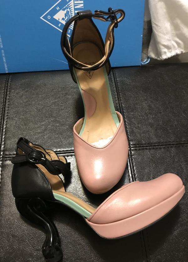 Nefertiti ankle strap pumps