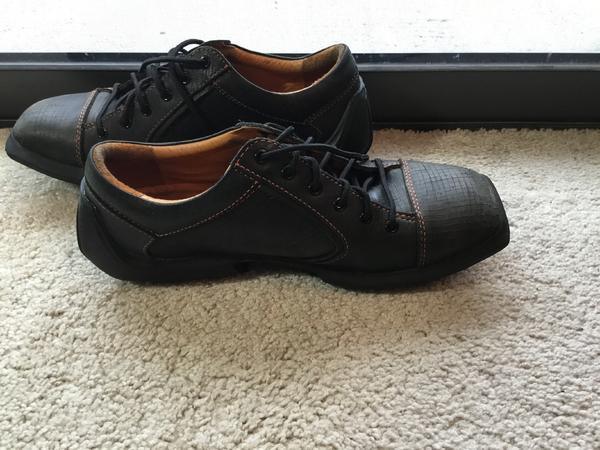 John Fluevog Will Future Angels Mens 9 Black Leather Square Toe Lace Up Shoes