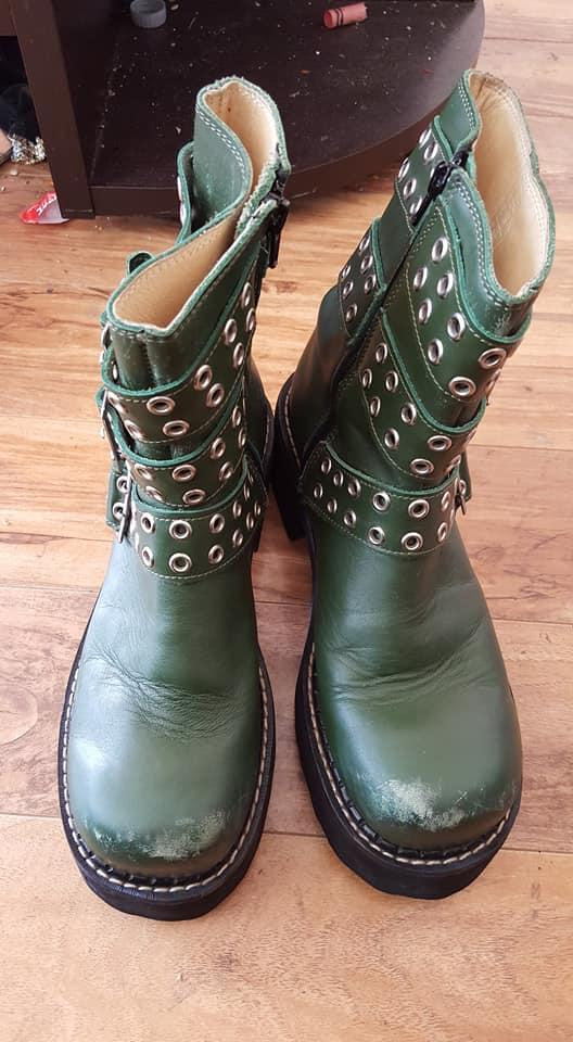 Tankgirl Green Ankle Boot - Sz 10