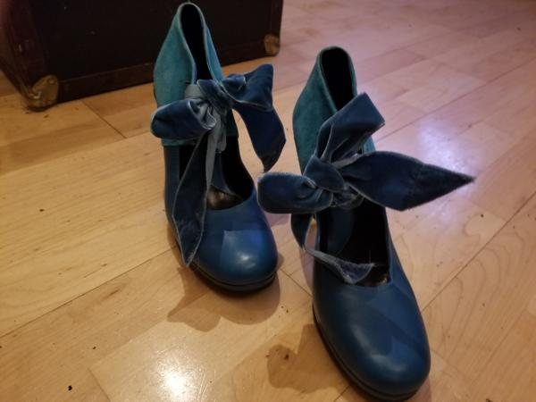 """DARK TEAL/blue 4"""" suede and leather dress shoes"""