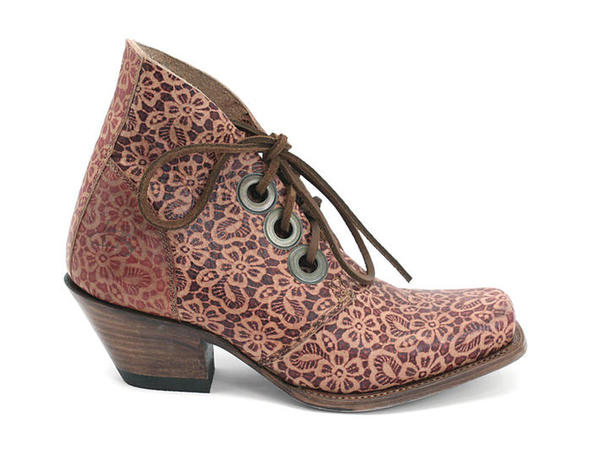 SIMON I BELIEVE FLORAL LEATHER ANKLE BOOTS