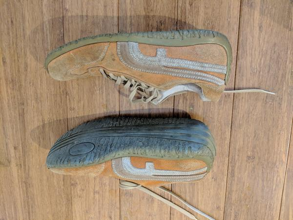 Orange suede tennis shoes. Vintage 2004-ish.