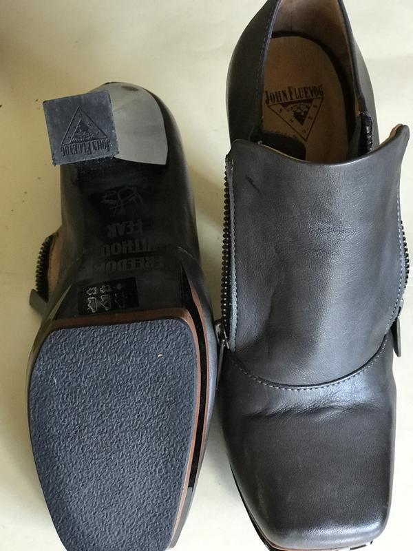 Grey leather 4 inch heels