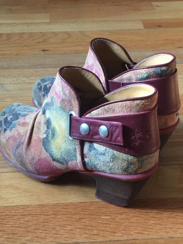 Floral Suede Ankle Booties