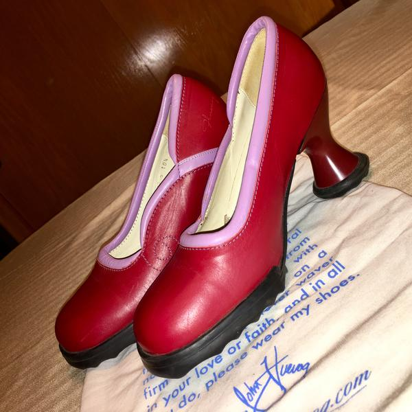 RARE John Fluevog Mini Lily Darling Red & Pink 10.5 Cherry Red & Orchid Pink 10 1/2