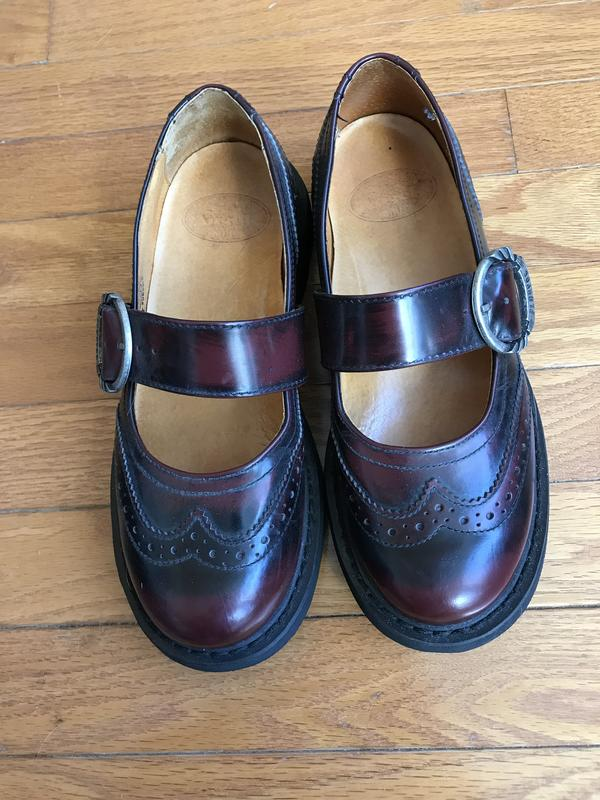 Angels burnished leather wingtip Mary Janes with metal buckle