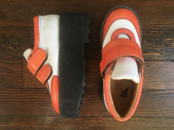Vintage velcro platforms Orange, black + white 6