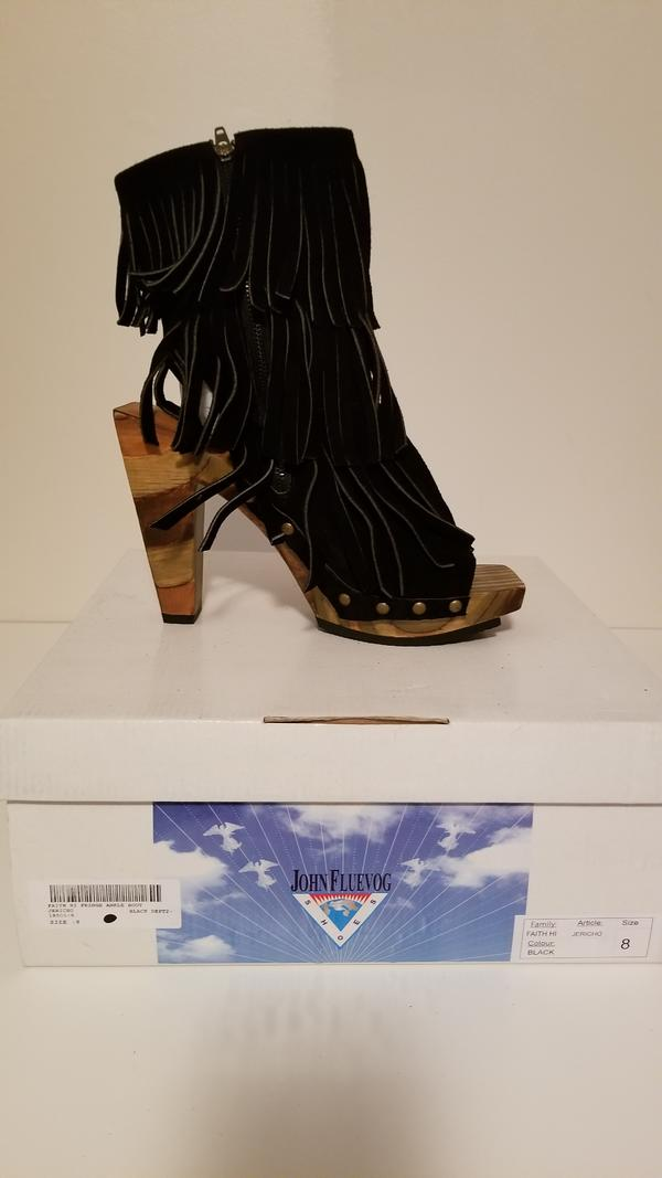 Faith hi fringe ankle boot Black 8
