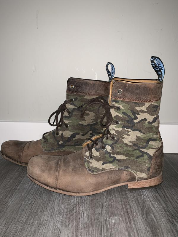 Radios BBC: Men's Classic Lace Up Boots Brown /Camo 9 1/2