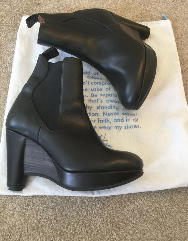 Leather wedge booties Black 8