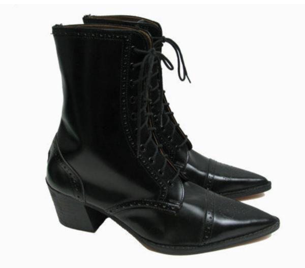 John Fluevog with George Cox Brogue Boots with Pointed Toe Black preferred 10