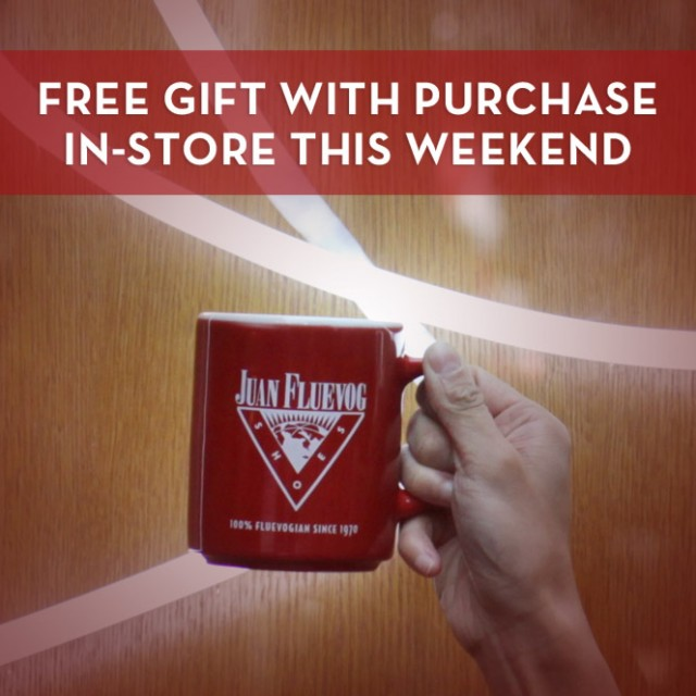 Complimentary JF Mugs (you look great, btw) with purchase!