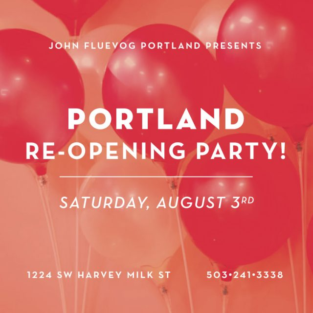 Fluevog Portland to celebrate with Re-opening Party!